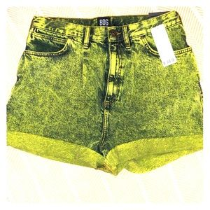 "NWT Acid Green BDG High-Waist ""Mom"" Denim Shorts"